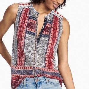 Lucky Brand Sleeveless Button Embroidered Blouse